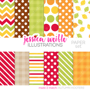 Autumn Hooters Matching Digital Papers, Autumn Owls Papers, Polka Dots