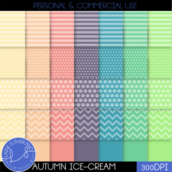 Autumn Ice-Cream Digital Paper Set