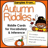 Inference, Key Details, and Vocabulary ~ Autumn Riddles