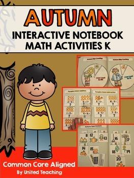 Autumn Interactive Notebook Math Activities for Kindergarten