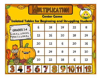 Autumn Multiplication Isolated Facts Math Stations