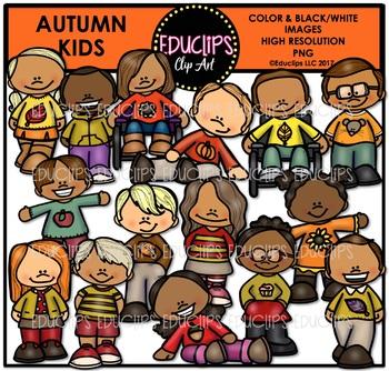 Autumn Kids Clip Art Bundle {Educlips Clipart}