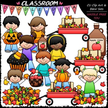 Autumn Kids Clip Art - Fall Clip Art - Kids Clip Art & B&W Set