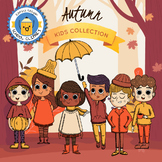Autumn Kids Collection Clipart - Color and B&W - Katrina K