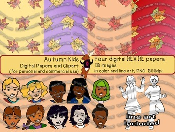Autumn Kids Digital Papers and Clipart {for personal and commercial use}