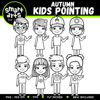 Fall Kids Pointing Clipart