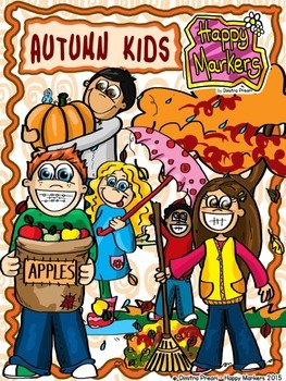 Autumn Kids _ Clip art by Happy Markers
