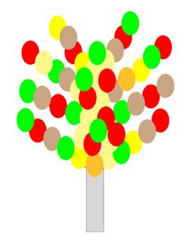 Autumn Kindergarten Art Project Tree Red Yellow Beige Brown Orange Green Leaf 4p