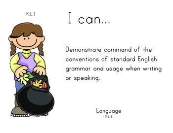 Autumn Kindergarten English Common core standards posters