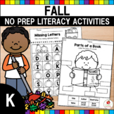 Fall Literacy Activities and Worksheets No Prep (Kindergarten) Distance Learning