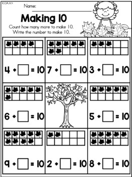 Autumn Kindergarten No Prep Worksheets Bundle