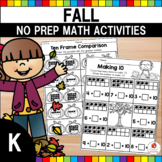 Fall Math Worksheets No Prep (Kindergarten)