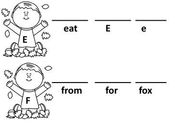 Autumn Kindergarten Sight Words