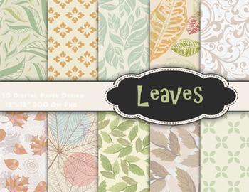 Autumn Leaf Digital Paper Leaves Scrapbook Paper Leaf Pattern Digital Paper Pack