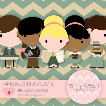 Animals in Autumn - Little Readers Clip Art