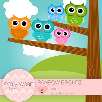 Rainbow Brights - Owl Clip Art