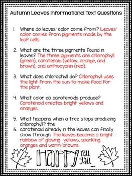 Autumn Leaves Informational Text