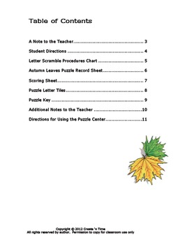 Autumn Leaves Letter Scramble Puzzle Packet and Center