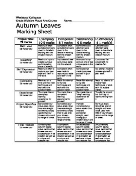 Autumn Leaves Marking Sheet