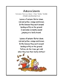 Autumn Leaves Print Ready Poem/Song