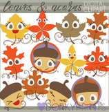 Autumn Leaves and Acorn Clipart