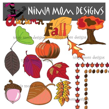 Autumn Leaves and More Clip Art in Color and Black Line