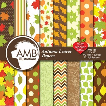 Digital Papers -  Leaves papers scrapbooking papers, AMB-144