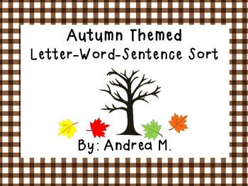 Autumn Letter-Word-Sentence Sort