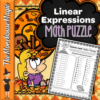 LINEAR EXPRESSIONS COMMON CORE MATH PUZZLE - FALL LEAVES!