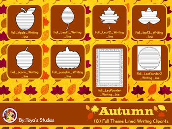 Autumn - Lined Writing Cliparts!