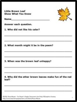 Fall Language Arts Activities