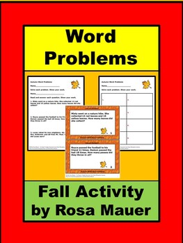 Fall Math Addition Word Problems