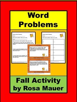 Autumn Math Addition Word Problems