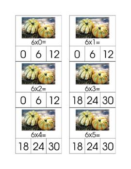 Autumn Math Fact Clip Cards Bundle