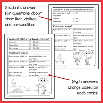 Fall Math Goofy Glyph (3rd grade Common Core)