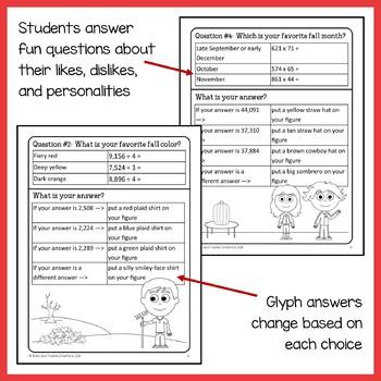 Fall Math Goofy Glyph (5th grade Common Core)