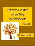 Autumn Math Practice Worksheets Grades 1&2