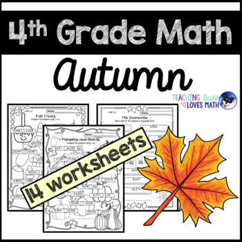 Autumn Math Worksheets Fall 4th Grade Common Core By Teaching Buddy