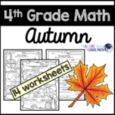 Autumn Math Worksheets Fall 4th Grade Common Core