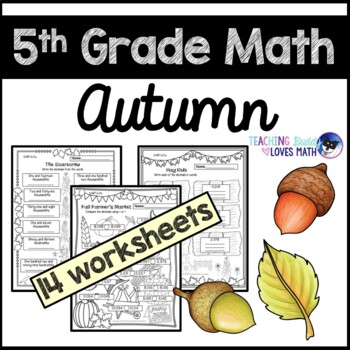 Autumn Math Worksheets Fall Worksheets 5th Grade Common Core