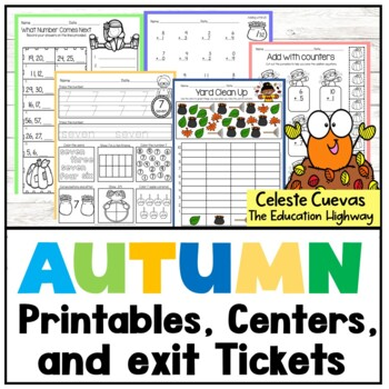 Autumn Math Worksheets and 13 Centers