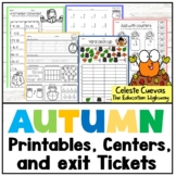 Autumn Math Worksheets, 15 Centers and Exit Tickets