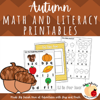 Autumn Math and Literacy Printables