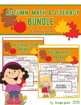 Autumn Math and Literacy Worksheet Bundle-Kindergarten