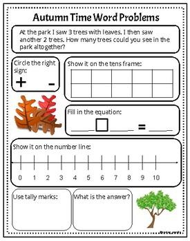 Autumn Maths Words Problem (add/sub to 10)