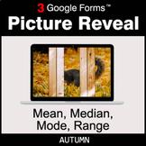 Autumn: Mean, Median, Mode, Range - Google Forms Math Game