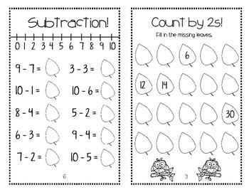 Autumn Mini Math Book (No Prep)