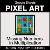 Autumn - Missing Numbers in Multiplication - Google Sheets Pixel Art
