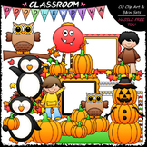 Autumn Mix Clip Art - Fall Clip Art - Kids Clip Art & B&W Set