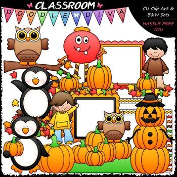 Autumn Mix Clip Art - Fall Clip Art - Kids Clip Art & B&W Set